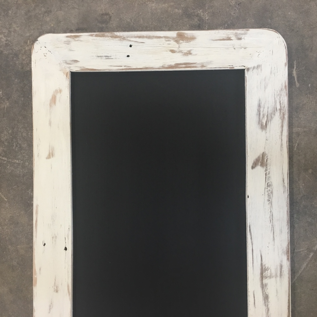 White Shabby Chic Wall Mounted White Washed Wood Framed Chalkboard